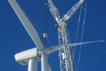 A wind turbine is installed at the Crow Lake Wind project, just east of Chamberlain, S.D.   Photo Courtesy of East River Electric Power Cooperative