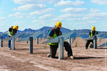 At NRG Solar's Agua Caliente, hundreds of workers have installed nearly 3 million solar panels. The Project's solar panels are expected to power roughly 56,000 homes. | Image courtesy of  First Solar