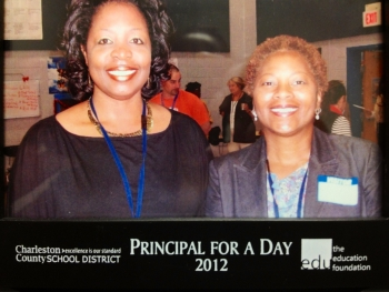 On left, Dr. Yvonne Commodore, Principal of Lincoln Middle-High School in McClellanville, South Carolina, stands with Cynthia Anderson as part of the annual  Principal for Day event with the South Carolina Education Foundation.