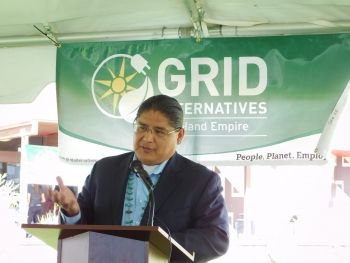 DOE Office of Indian Energy Director Chris Deschene attended the April 22 event to celebrate the completed residential solar installations with the Bishop Paiute Tribe and project partner GRID Alternatives. Photo from GRID Alternatives