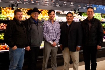 On Feb. 28, 2017, Office of Indian Energy Director Chris Deschene (second from right) joined the Coeur d'Alene Tribe to celebrate its upgraded Benewah Market in Plummer, Idaho. From left: Joe Peone (Bonneville Power Administration), Alfred M. Nomee (Coeur d'Alene Tribe), James Alexie (Coeur d'Alene Tribe), Chris Deschene, and Ken Johnston (Bonneville Power Administration). Photo from Jennifer Fletcher, Coeur d'Alene Tribe Council Fires Newspaper
