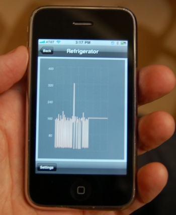 Home-energy display mobile phone application that shows how much energy an appliance is consuming. | Photo courtesy of Pecan Street Project.