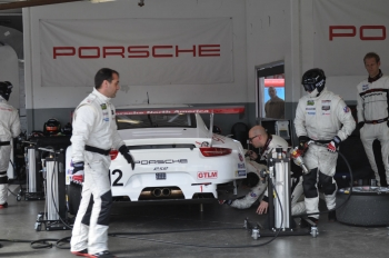 A crew works on the Porsche 911 GTLM car, which runs on cellulosic ethanol.  | Photo by Natalie Committee, Energy Department