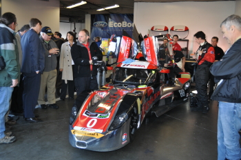 The DeltaWing prototype is about 50% lighter than most racecars and has a four-cylinder engine, which helps make it more fuel efficient. | Photo by Lee Slezak, Energy Department