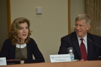 Deputy Energy Secretary Daniel Poneman, right, and U.S. Ambassador to Japan Caroline Kennedy participate in last month's U.S.-Japan Bilateral Commission on Civil Nuclear Cooperation. | Photo courtesy of the State Department.
