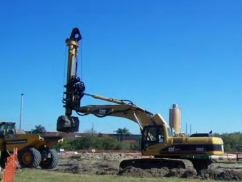 Deep soil mixing at the Paducah site will involve a large-diameter auger like this one.