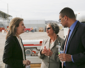 (Left to right) Elizabeth Sherwood-Randall, Deputy Secretary of Energy; Sue Cange, Oak Ridge Office of Environmental Managment Manager; and Tim McClees, Chief of Staff to the Deputy Secretary of Energy