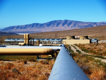 Nevada-based industry partner Ormat Technologies leveraged DOE funds to deploy the nation's first commercial EGS at Desert Peak, Nevada. photo courtesy of Ormat