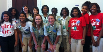 Dot Harris, Director of the Office of Economic Impact and Diversity (pictured in middle of photo) with a group of Girl Scouts and Girls Inc members during a mentoring session after the White House Title IX Anniversary celebration on Wednesday.