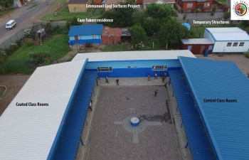 South African National Energy Development Institute's Cool Roof demonstration project at Emmanuel School. Implemented by PEER-Africa which used Milenium Solutions paint. | Photo courtesy of PEER-Africa