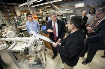 Deputy Secretary of Energy Daniel Poneman, center, talks with students at Duke University on April 21, 2014. | Photo courtesy of Duke University.