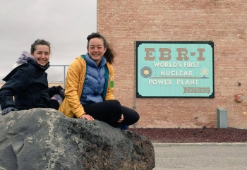 Rachel Woods-Robinson and Elizabeth Case of Cycle for Science in front of the world's first nuclear power plant at Idaho National Lab. | Photo courtesy of Cycle for Science.