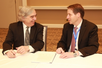 Energy Secretary Ernest Moniz and NASEO Executive Director David Terry at the February 10, 2016 signing of the Energy Emergency Assurance Coordinators Agreement. | Photo Courtesy of NASEO.