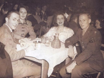Manhattan Project veteran Ralph Gates (far right) celebrates Christmas in 1945. Gates contributed to the Voices of the Manhattan Project, a storytelling project launched by the Atomic Heritage Foundation and Los Alamos Historical Society.