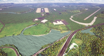 A rendering of East Tennessee Technology Park (ETTP) in 2020, when cleanup there is scheduled for completion. ETTP offers robust infrastructure and multiple parcels spanning hundreds of acres, capable of attracting and supporting large-scale industry.