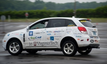 Virginia Tech puts their EcoCar vehicle through the paces at General Motors' Milford Proving Grounds. | Credit Department of Energy Advanced Vehicle Technology Competitions