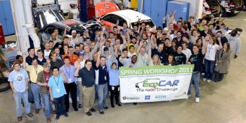 Participants in the EcoCar2 challenge gather for the spring workshop in Ann Arbor, Michigan.