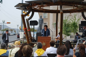 Members of the community gathered to celebrate the opening of the Aztec Calendar Pavilion, the first renewable energy education project in El Paso, Texas. | Photo courtesy of the City of El Paso.