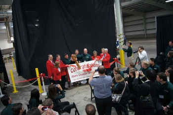 EnerG2 Ribbon Cutting Ceremony for new battery materials plant in Albany, Oregon. Photo courtesy of the Vehicle Technologies Program
