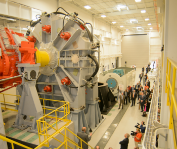 The Clemson University Wind Turbine Drivetrain Testing Facility is equipped with 7.5-megawatt (MW) and 15-MW dynamometers that will enable the wind industry and testing agencies to verify the performance and reliability of drivetrain prototypes and commercial machines. | Photo courtesy of Clemson University