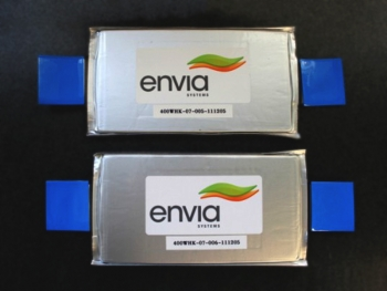 ARPA-E awardee Envia announced the world record in battery energy density at 400Wh/kg for rechargeable lithium-ion batteries in 2012. That's double the capacity of today's batteries or enough energy to increase an electric vehicle's range to 300 miles. |  Photo courtesy of Envia Systems.