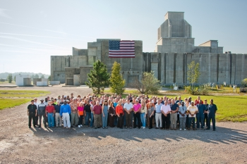The Savannah River Site Recovery Act Program workforce stands in front of the P Reactor, which was deactivated and decommissioned as one of the American Recovery and Reinvestment Act-funded projects across America. |  Photo courtesy of the Office of Environmental Management.
