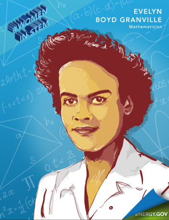 """Dr. Evelyn Boyd Granville was the second African-American women to earn a Ph.D. in mathematics and helped in America's early space missions.   Illustration by <a href=""""/node/2349957"""">Cort Kreer</>."""