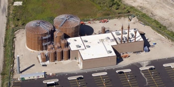 Aerial view of the anaerobic digester and biogas generation facility. Photo from Forest County Potawatomi Community.