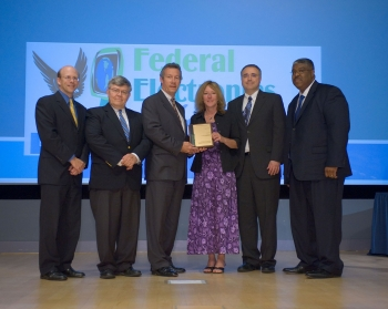 Left to right: EPA Assistant Administrator Jim Jones, Jeff Eagan, Brian Costlow, Kathy Loftin, Tony Castellano, and Kevin Cooke. (photo courtesy of EPA)