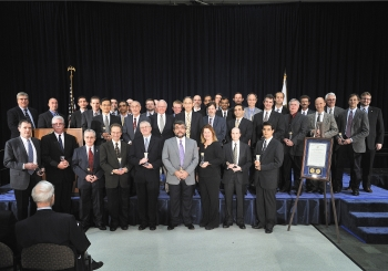 The Flow Rate Technical Group/Nodal Analysis Team with Secretary Steven Chu as they receive a Secretary of Energy Achievement Award. | Photo courtesy of the Energy Department