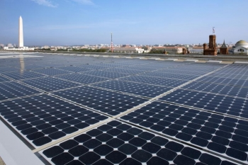 Solar panels on the roof of the Department of Energy Forrestal Building in Washington, D.C. | Credit: DOE photo