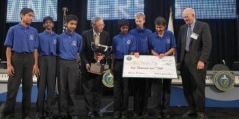The Gale Ranch Middle School of San Ramon, CA, received first place at the 2011 National Science Bowl.   Energy Department Image    Photo by Dennis Brack, Contractor