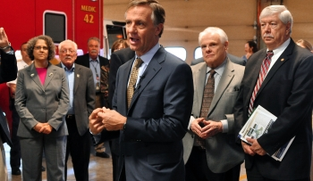 Tennessee Governor Bill Haslam, at ETTP's fire station, discusses economic opportunities in Oak Ridge.
