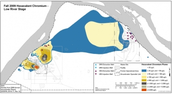 This graphic shows the area, or plume, of chromium contamination in groundwater near Hanford's D, DR, and H reactors in 2009.