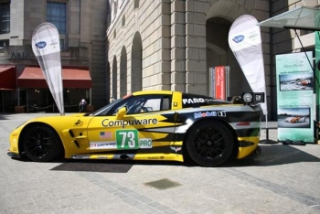 One of the competitors from the Michelin Green X Challenge takes center stage outside the National Press Club. | Photo courtesy of Green Racing.