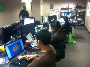 Franklin High School students working on their online map of gas and charging stations. | Photo courtesy Dayana Bustamante