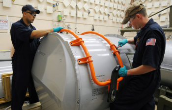 Workers dismantle a remaining B53, ensuring that the system will never again be part of the U.S. nuclear weapons stockpile. | Credit: NNSA photo