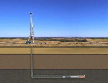 The Office of Fossil Energy sponsored early research that refined more cost-effective and innovative production technologies for U.S. shale gas production -- such as directional drilling.  By 2035, EIA projects that shale gas production will rise to 13.6 trillion cubic feet, representing nearly half of all U.S. natural gas production. | Image courtesy of the Office of Fossil Energy.