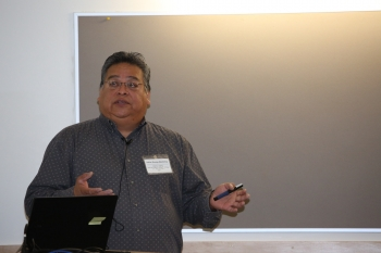 Workshop guest speaker David Lewis of the Yavapai-Apache Nation brought it all together in the end with a reminder of how important it is to be persistent and turn challenges into opportunities for success. Photo by John De La Rosa, NREL