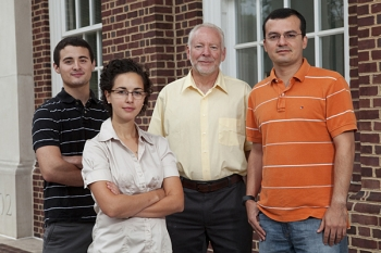 Pictured left to right: University of Delaware students Joseph Camp and Nicole Suto; Keith Goossen, director of the Industrial Assessment Center; and Cesar Duarte, University of Delaware grad student.   Image courtesy of UD.