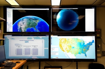 Data sources on display in IBM labs used in IBM's solar forecasting technology (Jon Simon/Feature Photo Service for IBM)