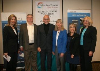 From left: Deputy Secretary of Energy Elizabeth Sherwood-Randall stands with Dan Koleske, from Sandia National Laboratories; Vladimir Matias, from iBeam Materials; Jill Hruby, President and Laboratories Director of Sandia National Laboratories; U.S. Rep. Michelle Lujan Grisham of New Mexico; and Madelyn Creedon, Principal Deputy Administrator of the National Nuclear Security Administration, at a roundtable discussion at the Center for Global Security and Cooperation at Sandia National Laboratories in Albuquerque, New Mexico.