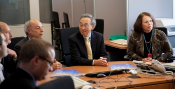 Secretary Chu meets with officials during a visit to the International Atomic Energy Agency's (IAEA) Incident and Emergency Center in Vienna.   Photo Courtesy of IAEA.
