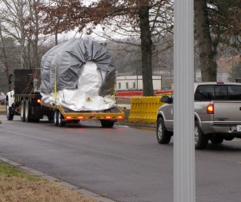 The 6,500-pound Tank W-1A is shipped away from ORNL.
