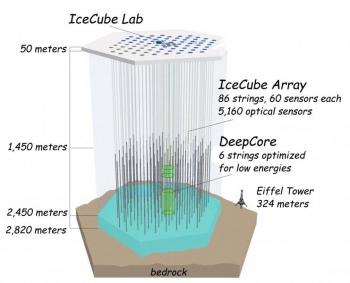 Illustration of the IceCube neutrino observatory. Source: LBNL