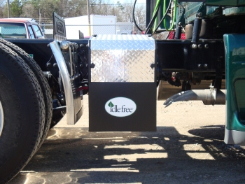 Idle Free System's frame rail unit mounted onto the chassis rail of a truck. Idle Free produces battery-powered, idle-elimination systems that lower fuel costs and CO2 emissions while retaining power to a truck's cab. | Courtesy of Idle Free Systems.