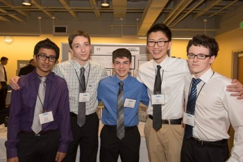 Imagine Tomorrow participants Pavan Kumar (from left), Isaak Nanneman, Ethan Perrin, Andrew Wang and Oisin Doherty were selected by the Bioenergy Technologies Office to present their idea at the Biomass 2014 conference next month. The student team from Redmond, Washington, was chosen for their idea on how to help the nation transition to renewable forms of energy using cellulosic ethanol.   Energy Department photo
