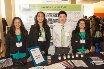 Jyoti Bodas (from left), Simreet Dhatiwal, Honson Ling and Aarti Bodas from Thomas Jefferson High School in Lakeland North, Washington, were named alternate selections to present at the Biomass 2014 for their idea on converting bio-waste to bio-fuel.   Energy Department photo