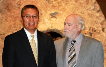 Dr. Stanley Atcitty, left, and Dr. Imre Gyuk, right, at the Smithsonian, following the 2012 PECASE awards ceremony. | Photo courtesy of the Energy Department's Office of Electricity Delivery and Energy Reliability.