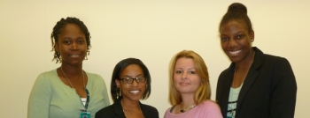 A few of the summer of 2013 Mickey Leland Energy Fellowship class. Pictured from left to right: Wendy Hertulien, Noelle Hilliard, Vianey Escobar, and Jasmin Selby.